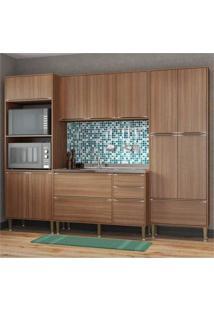 Cozinha Compacta Multimóveis Com 4 Peças Calábria 5452 Nogueira