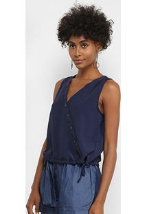 Regata Lily Fashion Transpasse Botões Feminina - Feminino-Azul