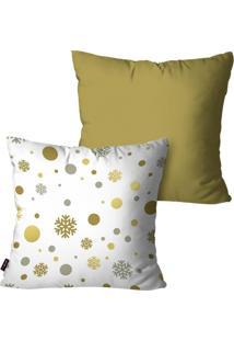 Kit Com 2 Capas Para Almofadas Pump Up Decorativas Enfeite Círculos Dourado 45X45Cm