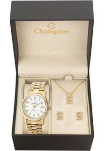 Kit Relógio Feminino Champion Cn29221W Analógico 5 Atm + Conjunto Semijoia