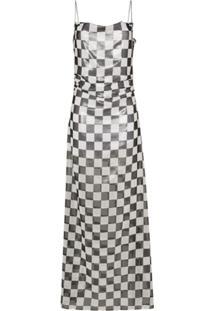 Filles A Papa Check Print Sleeveless Maxi Dress - Branco