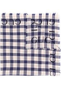 Gucci Cachecol Xadrez Com Franjas - Azul