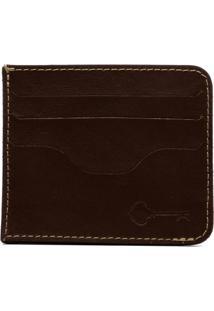 Carteira Porta Cartão Key Design - Wallet Card Holder - Brown - Masculino-Marrom
