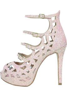 Open Boot Week Shoes Meia Pata Glitter Rosê