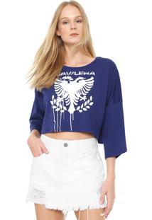 Blusa Cropped Cavalera Águia Stencil Azul