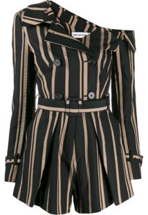 Self-Portrait Striped Off-Shoulder Playsuit - Preto
