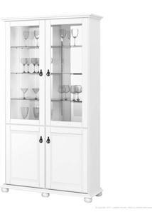 Cristaleira 4 Portas Com Vidro Monet Branco Acetinado - Imcal