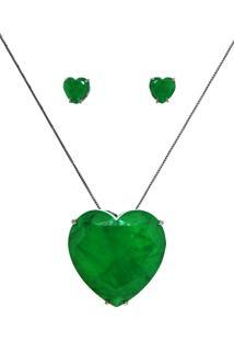 Conjunto Infine Colar E Brincos Coração Verde Esmeralda Fusion Premium