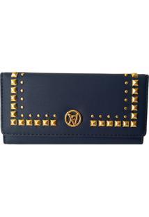 Carteira V&V Finder Tachas Douradas Azul Escuro