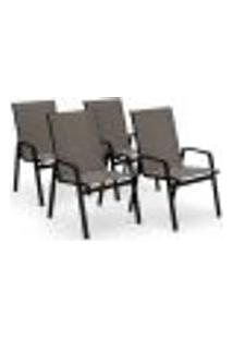 Kit 4 Cadeira Riviera Piscina Alumínio Preto Tela Fendi