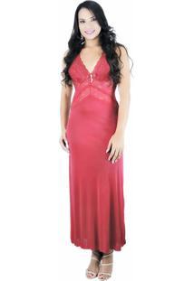 Camisola Longa Estilo Sedutor De Luxo Lua De Mel Em Liganete E Renda Com Calcinha Vermelha