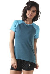 Camiseta Liquido Raglam Uv50 Mescla - Turquesa P