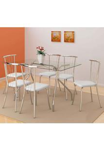 Conjunto De Mesa Robertt Com 6 Cadeiras Tours Branco