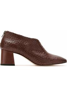 Sarah Chofakian Ankle Boot Tressê De Couro - Marrom