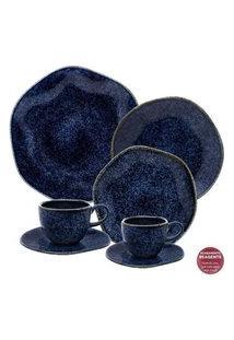 Aparelho De Jantar Chá E Café 42 Peças Ryo Safira Azul