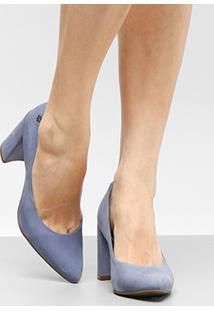 Scarpin Couro Capodarte Salto Alto Bloco Confort - Feminino-Azul Claro