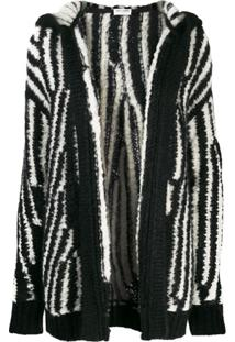 Saint Laurent Cardigan Oversized De Tricô - Preto