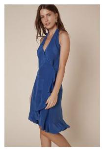 4f1e009548 Off Premium. Vestido Babados Amarração Azul Xingu