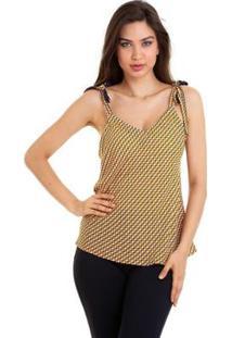Blusa Alcinha De Amarrar Xadrez - Feminino-Amarelo