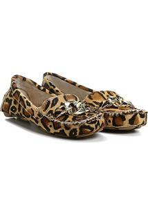 a225825ff ... Mocassim Couro Shoestock Drive Corrente Feminino - Feminino-Onça