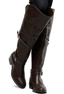 Bota Couro Over The Knee Shoestock Fivelas Feminina - Feminino-Marrom