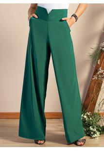 Calça Pantalona Verde Com Bolsos Funcionais