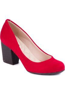 Sapato Moleca Salto Grosso Napa Tresse Rustico - Feminino-Vermelho