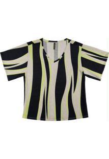 Blusa Estampada Com Decote V Cinza