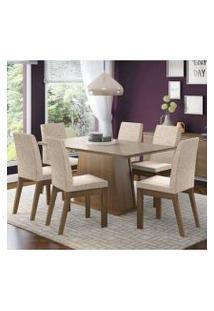 Conjunto Sala De Jantar Madesa Milena Mesa Tampo De Vidro Com 6 Cadeiras Rustic/Crema/Fendi