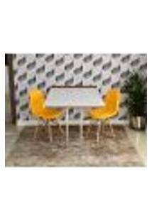 Conjunto De Mesa 1,40 Branco/Noronha Inox + 2 Cadeiras Botonê - Amarela