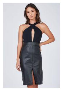 Vestido Fenda Leather Faux Preto