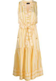 Elisabetta Franchi Vestido Listrado Com Amarração - Amarelo