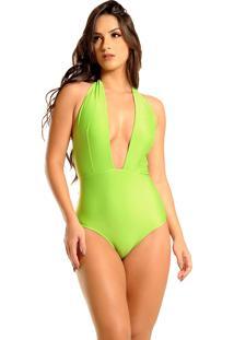 Maiô Mos Beachwear Decote Longo Achillea Greenery