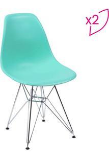 Jogo De Cadeiras Eames Dkr- Tiffany & Prateada- 2Pã§Sor Design