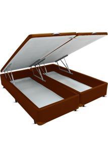 Cama Box King Bipartido Bau Frontal Pistão Corano Marrom - 178X198
