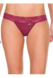 Calcinha Tanga Pant Table Micro Renda - Bordo - P