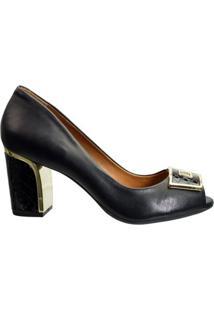 Sapato Peep Toe Luz Da Lua Milano Vibora S54135 - Feminino-Preto