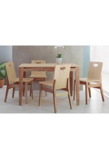 Mesa De Jantar Com 4 Cadeiras De Madeira Tucupi 120Cm - Acabamento Stain Nozes E Natural