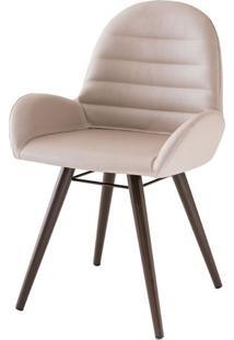 Cadeira Arm Assento Estofado Dunas Fendi Com Base Tabaco - 46864 - Sun House