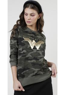 Blusão Feminino Mulher Maravilha Metalizado Estampado Camuflado Em Moletom Verde Militar
