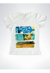 Camiseta Feminina Gola V Cool Tees Van Gogh Mescla - Cinza - Feminino - Algodã£O - Dafiti