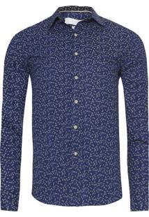 Camisa Masculina Full Flor E Folha - Azul Marinho