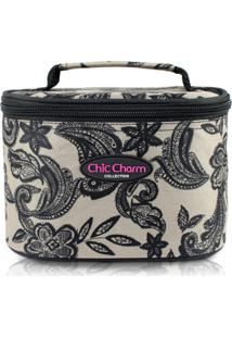 Necessaire Mã©Dio Jacki Design Chic Charm Bege - Bege - Dafiti
