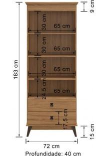 Cristaleira Retrô 2 Portas 2 Gavetas Lov-It Decibal Móveis Naturalle