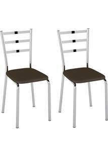 Cadeiras Kit 2 Cadeiras Corino Pc140021 Cacau - Pozza