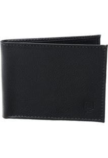 Carteira Em Couro Legítimo - Pequena Para Quatro Cartões Com Bolso Inteiro - Masculino-Preto