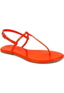 Sandália Mercedita Básica Shoes Verniz Flat Feminina - Feminino-Laranja