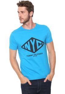 Camiseta Tommy Hilfiger Estampada Azul