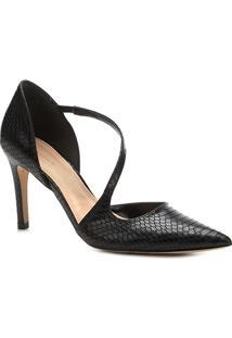 Scarpin Shoestock Salto Alto Snake - Feminino-Preto