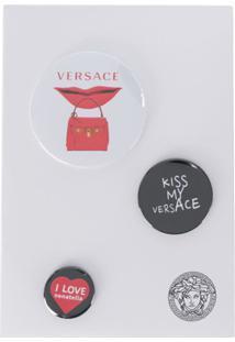 Versace Mixed Printed Logo Pins - Preto